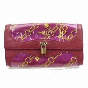 💯Auth Louis Vuitton Lock Charm Scarf Print Wallet